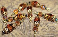 Vintage Dangles Amber Glass Tortoise Bicone Beads Drops Pendants Charms B26