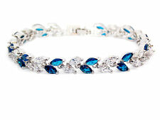 18kt White Gold Plated Blue Sapphire And White Topaz 7.82ct Bracelet