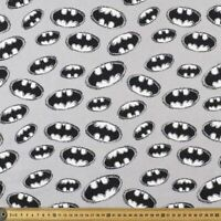 Jersey Knit Batman Logo Grey Fabric Half Yard 45cm x 148cm 100% Cotton