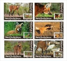 2020 MANED WOLF 6 SOUVENIR SHEETS UNPERFORATED  WILD ANIMALS