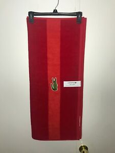 Lacoste Big Logo Embroidered Cotton Red Bath Towel 30in x 52in