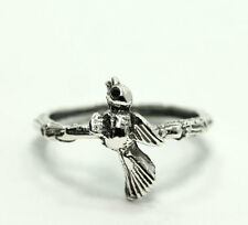 Sterling Silver Bird Bamboo Style Band Ring Size 6