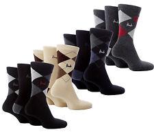 Men's Genuine 3 Pack Pringle Argyle Pattern Trouser Cotton Socks Size 7-11 UK