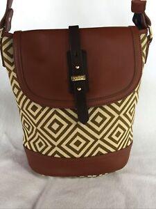 Spartina Linen Leather Flap Over Bucket Purse Bag Diamond Tan Green 21889