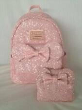 Disney Loungefly Pink Sequined Minnie Mouse Backpack And Wallet Retired Nwt