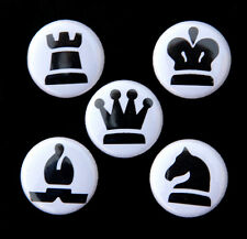 CHESS PIECES SET 2 - Buttons Pinbacks Badges 1 inch Black on White - Set of 5