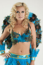 Turquoise/Black/Peacock Feather Wings Angel Fairy Costume Carnival Burlesque