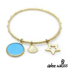 ADEE WAISS Gold Tone Turquoise Charm Bracelet / Bangle