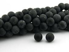 6 Agateperlen 12 mm schwarz gefrostet
