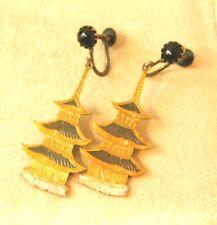 4110a4a6e Vtg Sterling Silver Japanese Niello Enamel Pagoda Dangle Screw Back Earrings  5j5