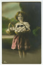 c 1910 Child Children LITTLE GIRL with EASTER EGGS tinted photo postcard