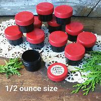 12 BLACK Opaque Plastic Jars RED Caps 1/2 oz 1Tbl Cosmetic DecoJars #3803 USA