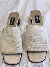 Ladies Vaneli Sz 10 Cream Slip On Shoes Size Block Heel.