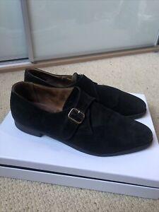 Designer Heritage New And Lingwood Black Suede Single Buckle Monk Shoe UK10