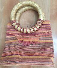 African Handwoven Handbag PURSE Raffia Handle, stripes, West African artisan