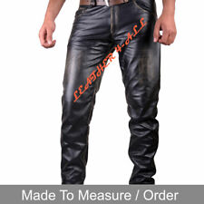 Men's Real Vintage Leather Bikers Pants Levi's 501 Style Handmade Leather Pants