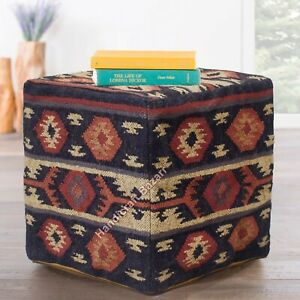 "18"" Seating Pouf Case Footstool Jute Ottoman Pouf Cover Throw Vintage Bean Bags"