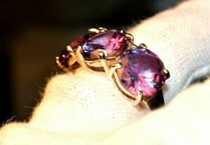 12.11+CT WOMAN S RING.RUSSIAN WELL TEST REAL LAB  ALEXANDRITE  COLOR CHANGE