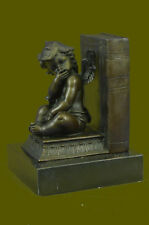 Art Deco Winged Angel Bookend Bronze with Marble Stone Hot Cast Sculpture Gift