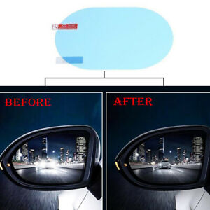 2X Blue Oval Car Anti Fog Rainproof Rearview Mirror Protective Film Accessory S