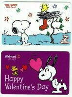 Walmart SNOOPY Gift Card - LOT of 2 - Peanuts / Woodstock / Christmas - No Value