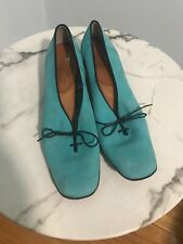 Fredelle Vintage Womens Suede Shoes Teal Aqua Blue Leather Sole Size 7 S