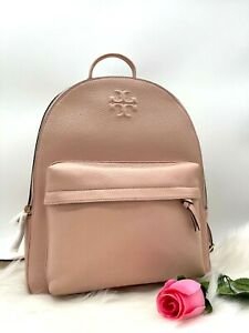 NWT Tory Burch Women's Thea Logo Large Pebbled Leather Backpack In Pink