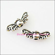 45Pcs Tibetan Silver Tone Wings Spacer Beads Charms 4.5x14mm