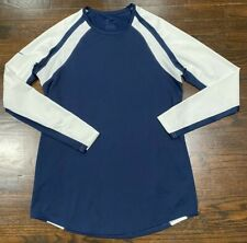 Nike Dri Fit Long Sleeve Breathable Shirt Men's Size L Fitted Stretch Blue White