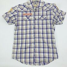Jachs Mens Pearl Snap Plaid Size Small Button Up Long Sleeve Western Shirt