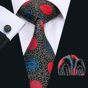 100% Pure Silk Neck Tie Cuff-links & Handkerchief Set Blue Red Gold Black Design
