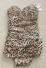 NWT Victoria's Secret Swim Ruched One-piece Natural Leopard Size 32A