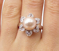 925 Silver - Freshwater Pearl & White Cubic Zirconia Floral Ring Sz 7 - RG3433