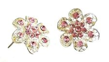 Silver Pink Crystal Flower Stud Earrings Women Girls Ladies Dress Jewellery Gift