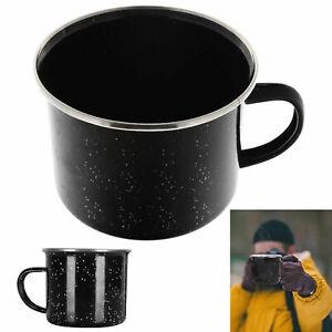 1 Black Enamel Cup Mug Metal Camping Drinking Coffee Bear Tea Hiking Travel 16oz