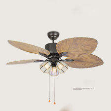 """Ceiling Fans With Light Led Chandelier Wooden Blades 52"""" Remote Control"""