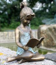 Bronzefigur Mädchen mit Buch Dekoration Skulptur bronze