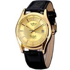WINNER Luxury Gold Automatic Mechanical Calendar Leather Men Dress Wrist Watch