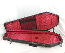 Coffin Guitar Case Black Hardshell Red Velvet Interior Includes Key
