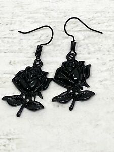 Pair Black Rose Earrings Gothic Wicca Pagan Novelty Flower Party