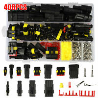 408PCS Waterproof Car Auto Electrical Wire Connector Plug 1-4 Pin Way Plug Kit