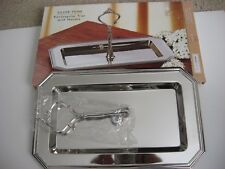 New  Silver Tone Rectangular Tray with Handle Studio Silversmiths