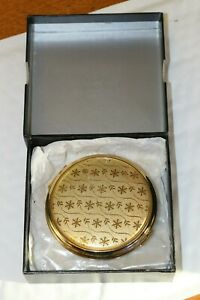 Boxed VICCI Gold Tone Compact Snowflake Design & Engine Turned Reverse Back Side