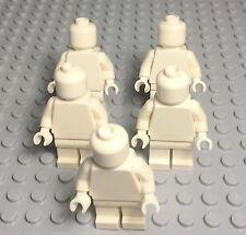 Lego X5 New Bulk Plain White Monochrome Mini Figures / Torso / Head / Legs / Hip