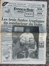 France Soir n°12769 (3 sept 1985) Catastrophe Argenton sur Creuse - Depardieu