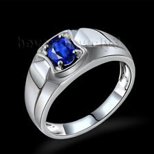 Men's Ring 18K White Gold Diamond Enagement Wedding Sapphire Gemstone Ring