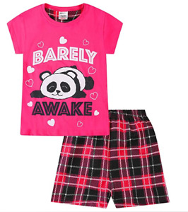 Cute Girls Barely Awake Panda Short Pyjamas Pink Check Pj 9-16 Years