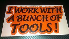Trabajar con herramientas etiqueta de transferencia de Gráfico divertido Snap en caja de herramientas Coches Vans