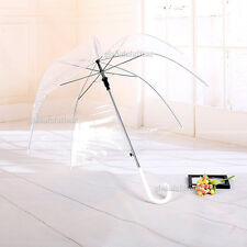 Clear Mushroom Handle Transparent Dome See Through Walking Rain Umbrella Au