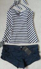 45c5eff33b Fat Face Navy ivory Breton Textured Striped Tankini Top. UK 12 EUR 40 US